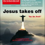 A capa da revista The Economist: Jesus takes off