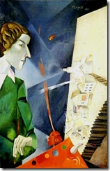 chagall - Auto-retrato com paleta (1917)